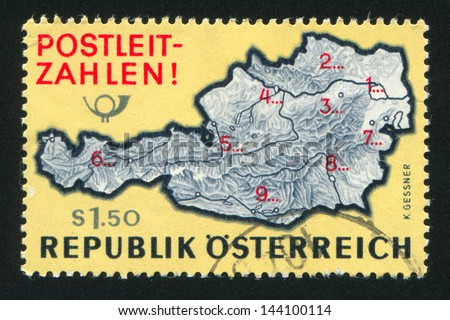 AUSTRIA - CIRCA 1966: stamp printed by Austria, shows Map of Austria with postal zone numbers, circa 1966 - stock photo