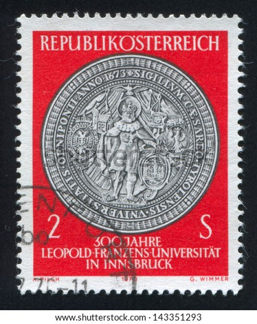 AUSTRIA - CIRCA 1970: stamp printed by Austria, shows Seal of St. Leopold University, circa 1970
