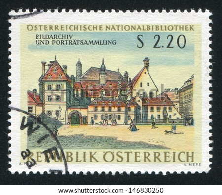AUSTRIA - CIRCA 1966: stamp printed by Austria, shows View of Old Vienna after a watercolor by Anton Stutzinger, circa 1966