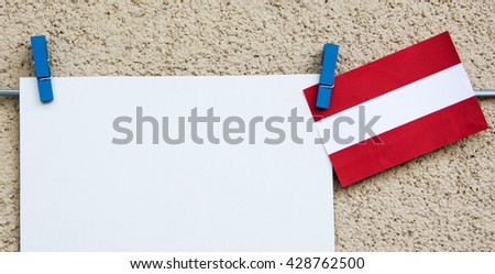 Austria flag and white note for text. concept for information holidays, dates and events in Italy. Information table - stock photo