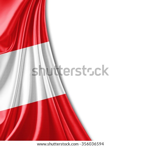 Austria flag of silk with copyspace for your text or images and white background