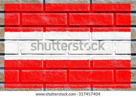 Austria flag painted on old brick wall texture background - stock photo