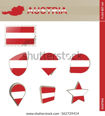 Austria Flag Set, Flag Set #5. Rasterized Copy.