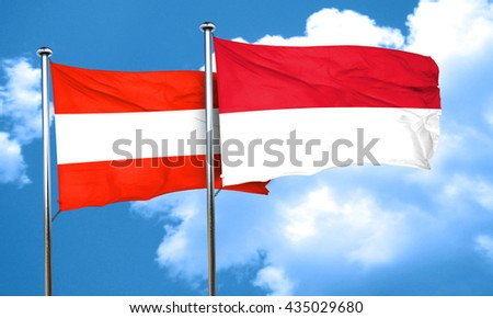 Austria flag with Indonesia flag, 3D rendering