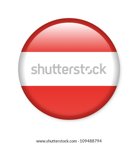 Austria - glossy button with flag