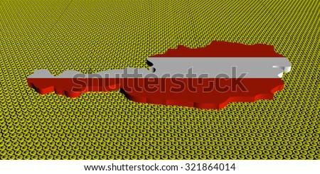Austria map flag on golden euros coins illustration - stock photo