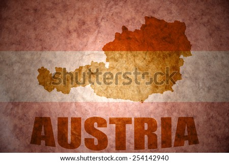 austria map on a vintage  flag background - stock photo