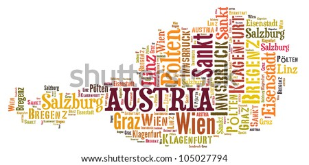 AUSTRIA map words cloud of major cities with a white background