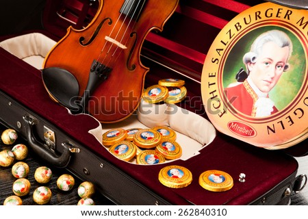 AUSTRIA - MARCH 10, 2015: Echte Salzburger Mozartkugen and Salzburger Mozarttaler by Mirabell. Typical Austrian sweets, named after the composer Wolfgang Amadeus Mozart. - stock photo