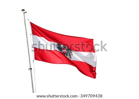 Austria national flag, isolated on white background - stock photo