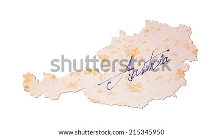 Austria - Old paper with handwriting, blue ink - stock photo