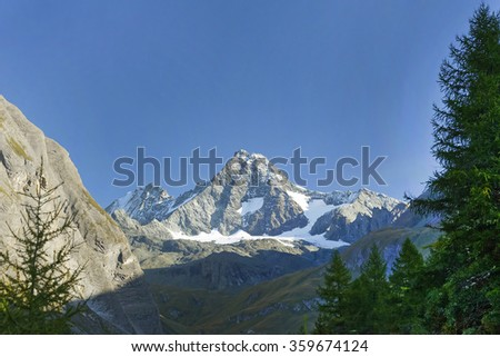 Austria ,September 2015 .Grossglockner peak ,highest peak in Austrian alps. - stock photo