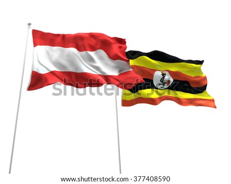 Austria & Uganda Flags are waving on the isolated white background - stock photo
