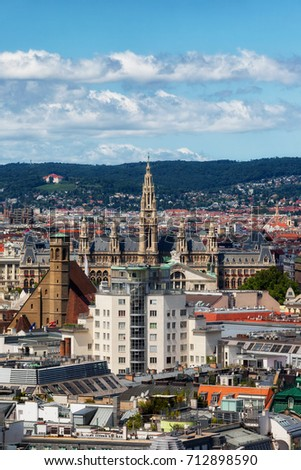 Austria, Vienna, cityscape with Rathaus - City Hall and Minoritenkirche church
