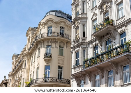 austria, vienna. on naschmarktstehen some beautiful art nouveau building. - stock photo