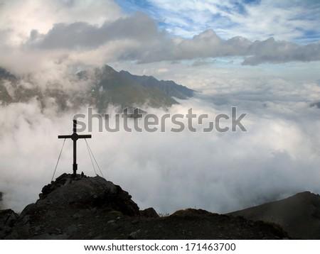 Austrian Alps, High Tauern National Park, mountain cross - stock photo