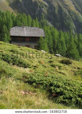 Austrian Alps, High Tauern National Park, old mountain hut - stock photo