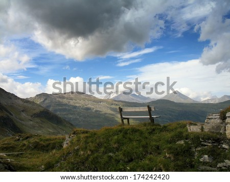 Austrian Alps, High Tauern National Park, seat with great view - stock photo