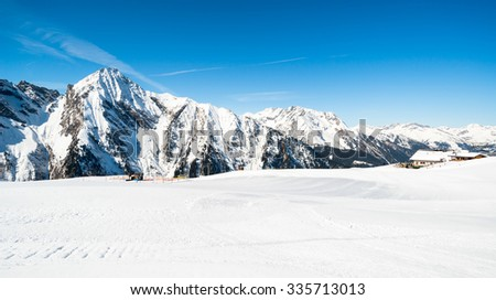 Austrian Alps in the winter  - panoramic view