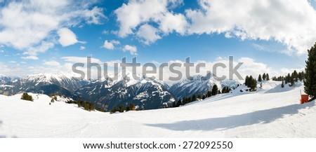 Austrian Alps, Mayrhofen ski resort - panoramic view - stock photo