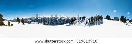 Austrian Alps, Mayrhofen ski resort - wide angle panoramic view - stock photo