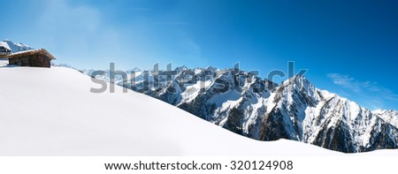 Austrian Alps, Mayrhofen ski resort - wide angle panoramic view
