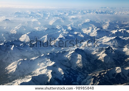 Austrian alps seen from the plane - stock photo