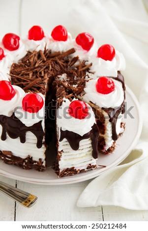 Austrian Black Forest cake. - stock photo