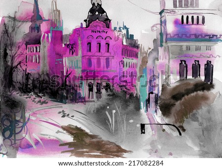 Austrian chic contemporary art watercolor pencil oil art colored illustration hand drawn artwork poster - stock photo