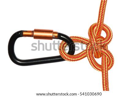 Austrian conductor knot with a carbine. Isolated on white background
