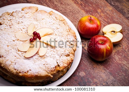 Austrian Cuisine - Desserts - Overhead shot of cheesecake with sour apples. - stock photo