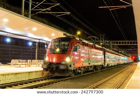 Austrian high-speed train at Feldkirch station - stock photo