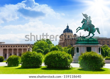 Austrian National Library and rider monument in front in the park in Vienna - stock photo