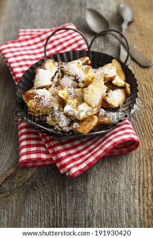 Austrian pancakes dessert Kaiserschmarren - stock photo