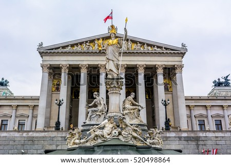 Austrian parliament building with Athena statue on the front in Vienna