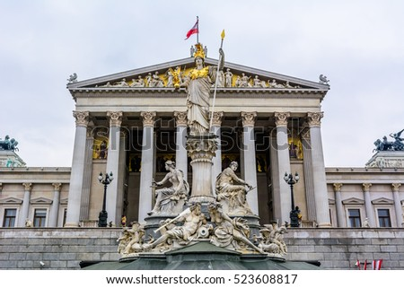 Austrian parliament building with Pallas Athena fountain and main entrance in Vienna, Austria