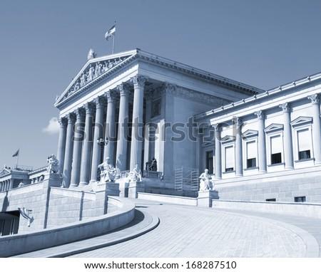 Austrian parliament, Vienna , cyanotype - stock photo