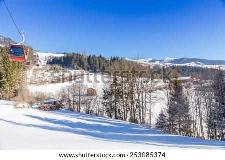 Austrian Winter, Alps near Kitzbuehel, Hollersbach, Resterhoehe - stock photo