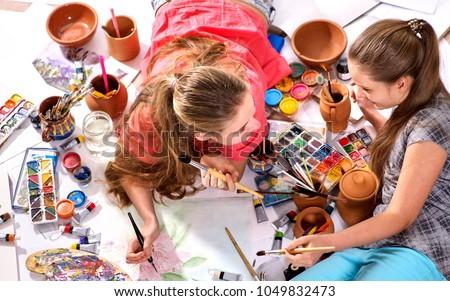 authentic artist children girl paints set stock photo royalty free