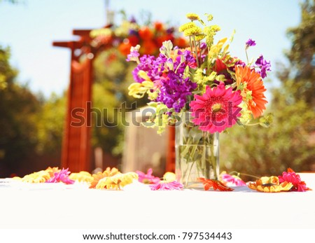 Authentic Candid Photo Beautiful Wedding Flowers Stock Photo Edit