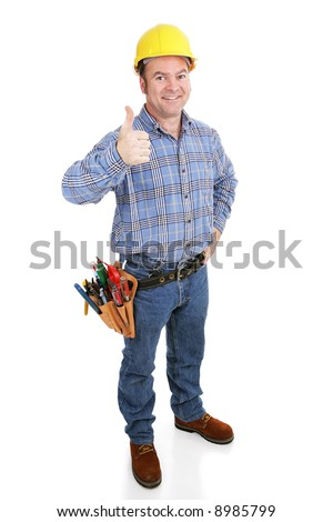 Authentic construction worker giving a thumbs-up sign.  Model actually works in construction trade.  Full body isolated on white.
