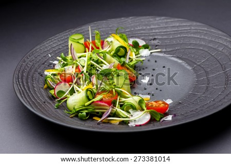 Authentic fresh vegetable salad with sprouts and peas black pepper on a black plate. Morning atmospheric lighting, fashionable trendy spot soft focus. Preparation for design creative menu. - stock photo