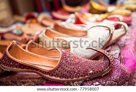 Authentic Iranian woman's shoes in Vakili bazaar, Shiraz, Iran - stock photo