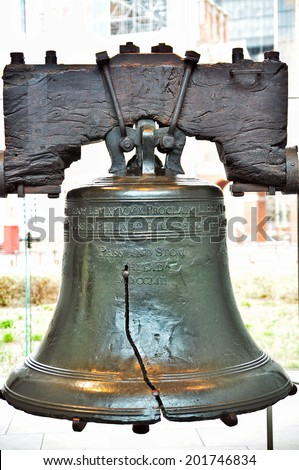 Authentic Liberty Bell on display in Philadelphia, PA - stock photo