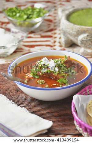 Authentic mexican beef stew, birria Jalisco style - stock photo