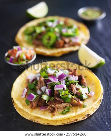 authentic mexican tacos with carnitas and barbacoa - stock photo