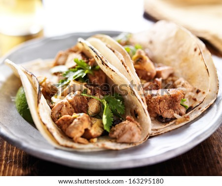 authentic mexican tacos with chicken and cilantro - stock photo