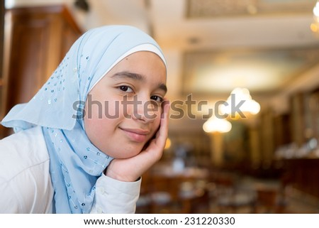 Authentic muslim arabic girl in real life - stock photo