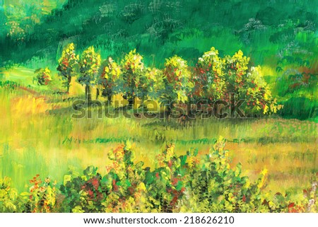 Authentic, original painting in impressionistic style. Landscape, autumn - stock photo
