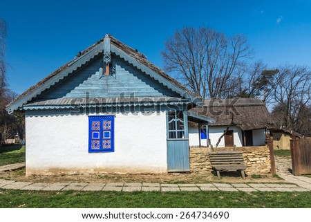 Authentic Romanian village house built with natural bio materials and ancient techniques in traditional architecture.  - stock photo